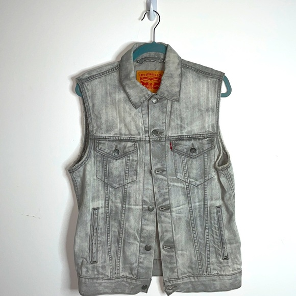 Levi's Gray Acid Washed Denim Vest Size Medium